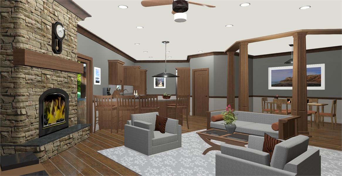Family Room & Kitchen image of Cobblestone Glen House Plan