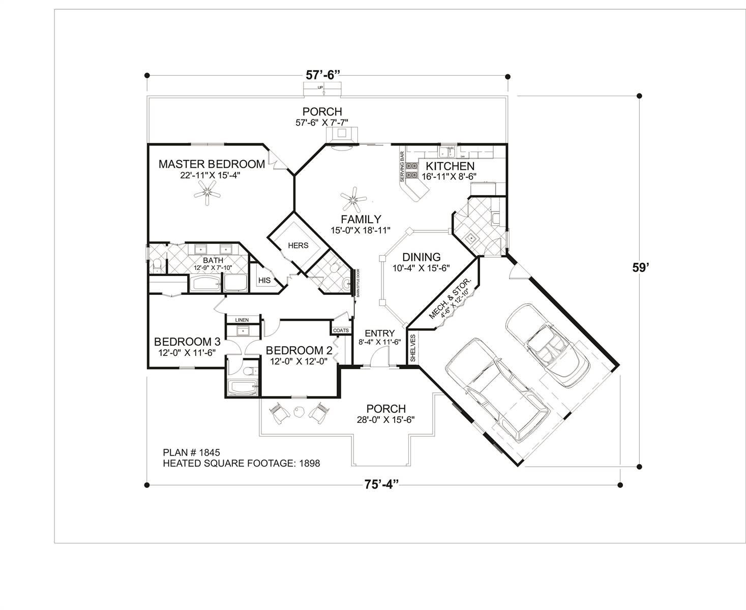 Main Level Floor Plan image of Cobblestone Glen House Plan