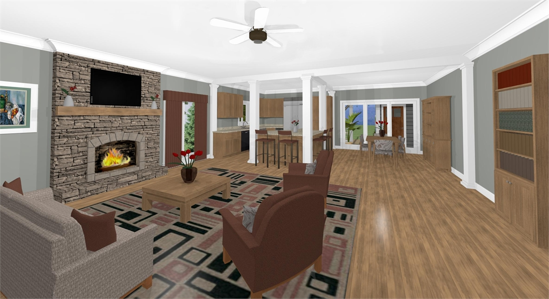 Family Room & Kitchen image of The Cascade Cottage House Plan