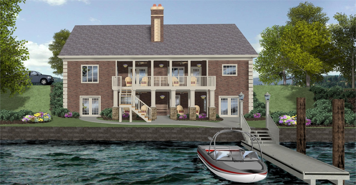Rear Rendering image of The Compass Pointe House Plan