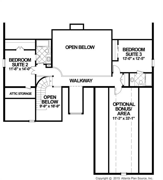 Upper Floorplan image of The Compass Pointe House Plan