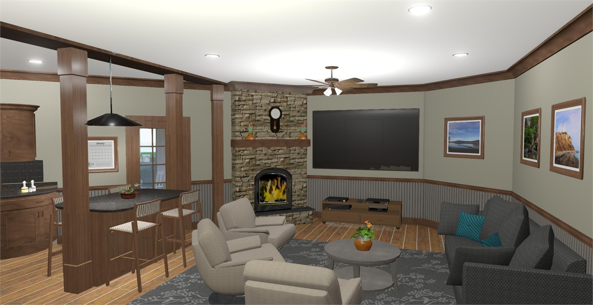 Family Room image of The Windy Hill House Plan