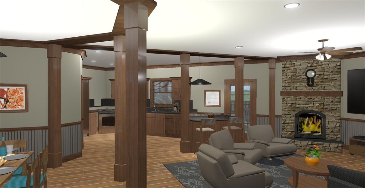 Family Room & Kitchen image of The Windy Hill House Plan