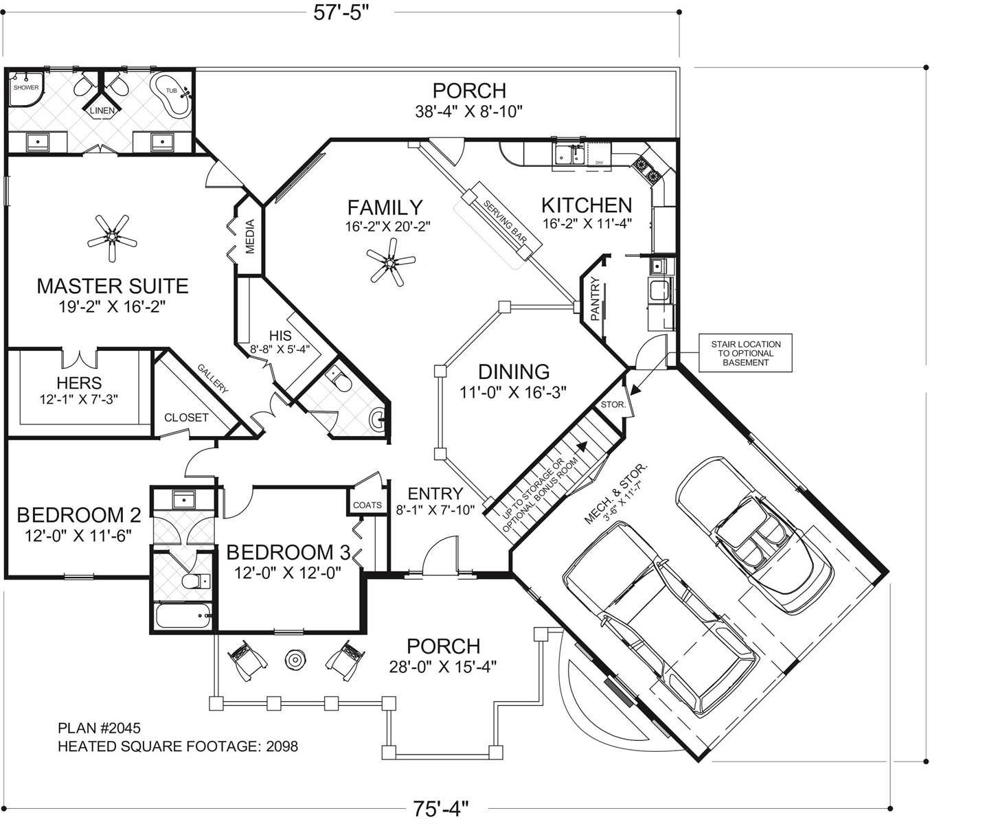 Main Level Floor Plan image of The Windy Hill House Plan