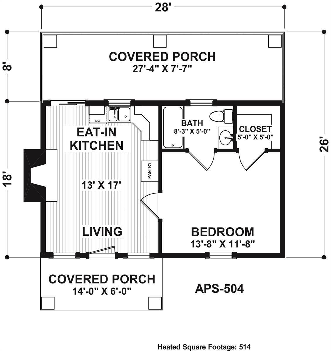 Main Level Floor Plan image of Keyingham Cottage House Plan