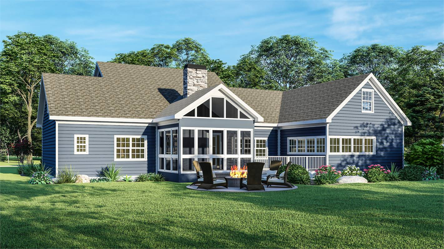 Rear View image of Country Creek House Plan