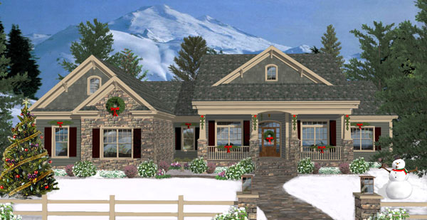 Front Rendering image of The Long Meadow House Plan