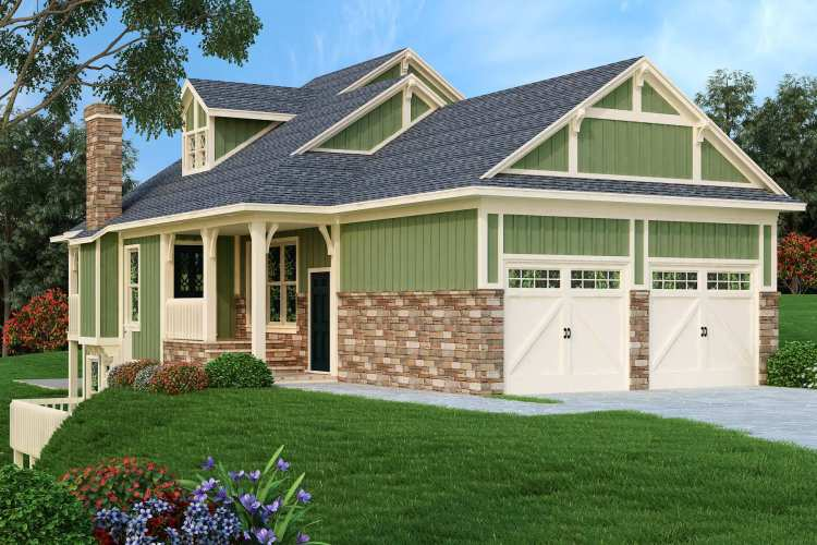 front and left side color rendering image of Mountain Aire - 1005 House Plan