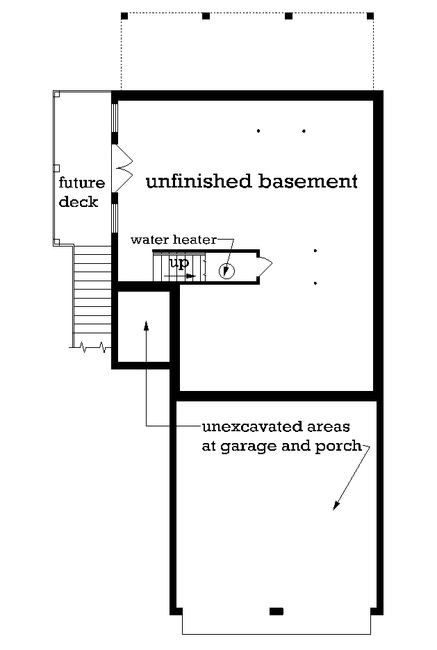 Unfinished Walk-out Basement Foundation image of Mountain Aire - 1005 House Plan