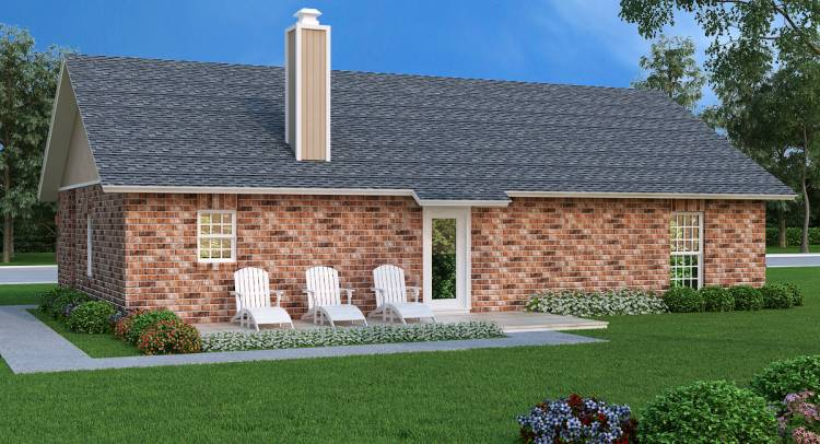 Rear Rendering image of Sanderville - 1214 House Plan
