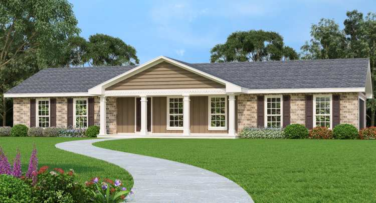 Ranch House Plan with 3 Bedrooms and 2.5 Baths - Plan 2866 on