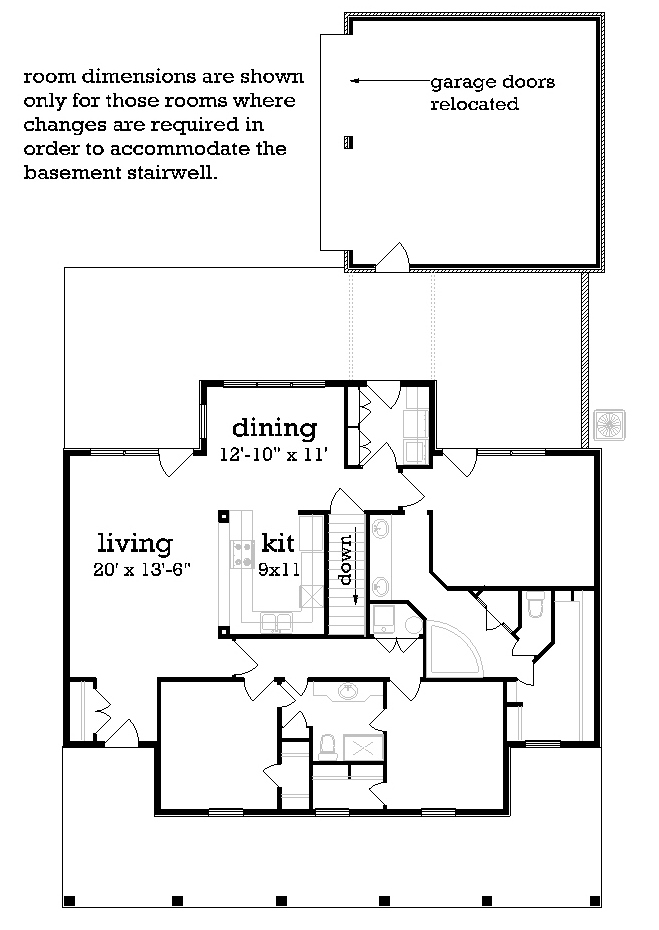Main Level Stair Location with optional basement image of St. Martin - 1519 House Plan