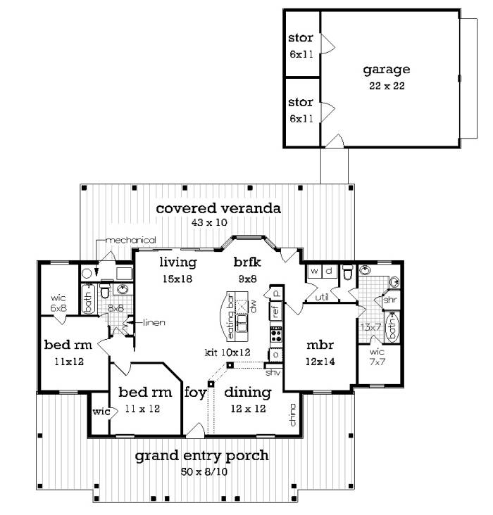 floor plan with br3 and optional garage by DFD House Plans