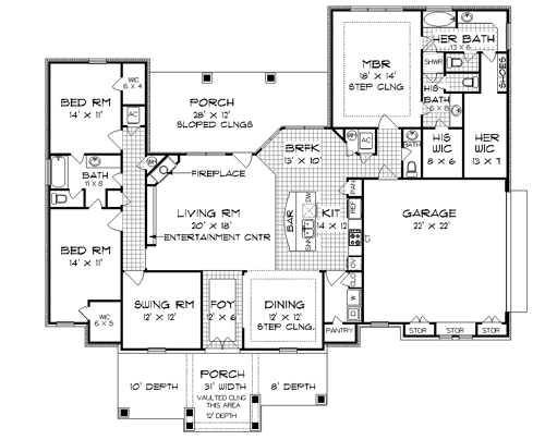 Ranch House Plan With 3 Bedrooms And 3.5 Baths - Plan 4740