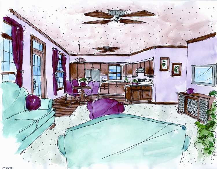 kitchen and dining as viewed from the living room image of Hickory Pass - 500 House Plan