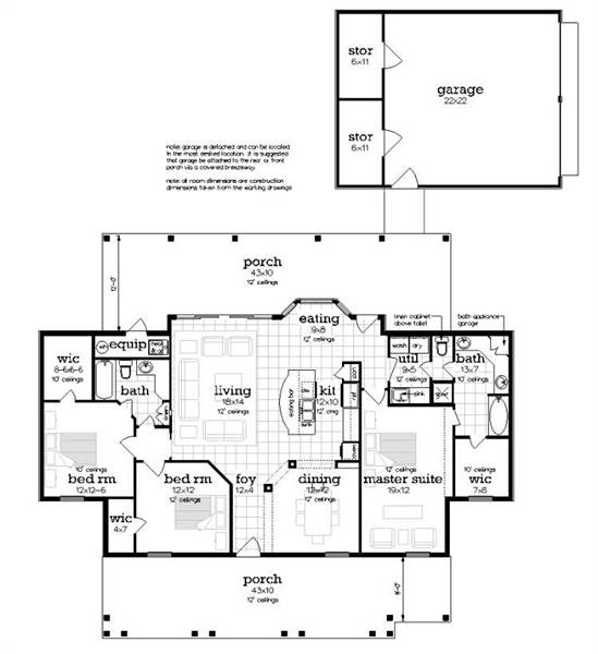 Floor Plan with optional detached garage image of Penny Lane House Plan