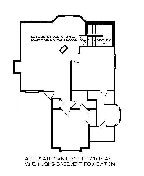 Optional Basement stair location by DFD House Plans