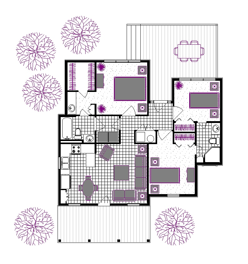 Suggested Furniture Layout by DFD House Plans