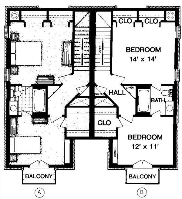 Upper level floor plan by DFD House Plans