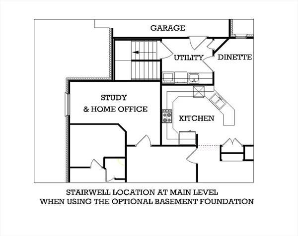 Main Level Stair Location with optional basement image of Tuscany-2314 House Plan