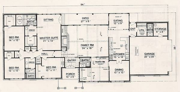 Ranch House Plan With 4 Bedrooms And 2.5 Baths - Plan 3055