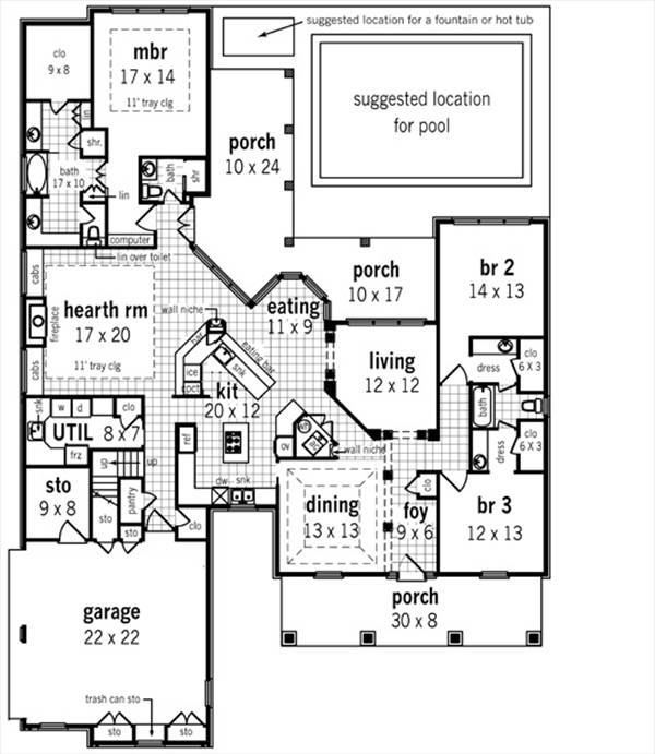 Southern house plan with 3 bedrooms and 2 5 baths plan 2300 for 2300 sq ft house plans