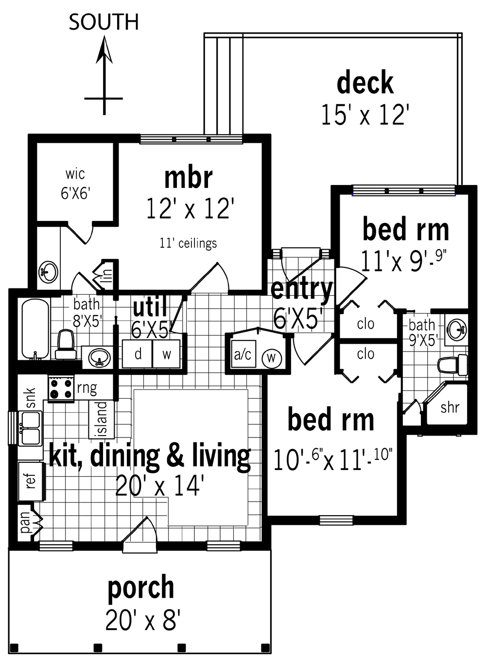 Cottage House Plan with 3 Bedrooms and