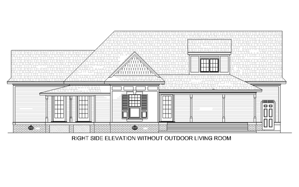 Right Side Elevation w/o outdoor living room
