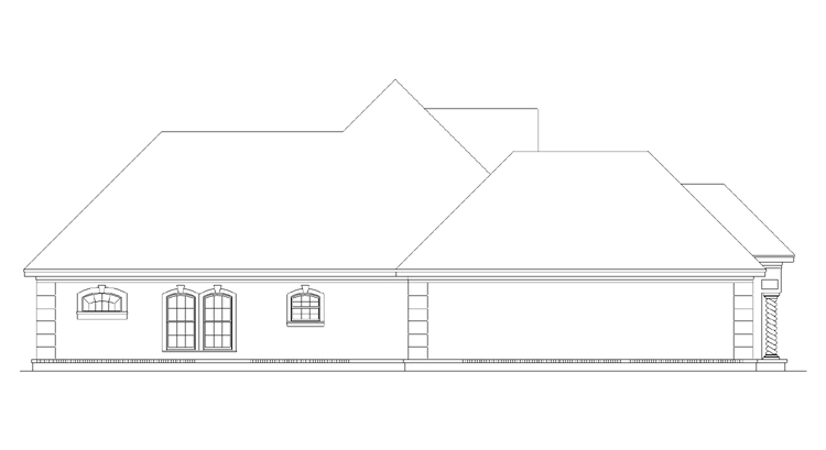 Left side elevation image of CAPE CORAL - 1633 House Plan