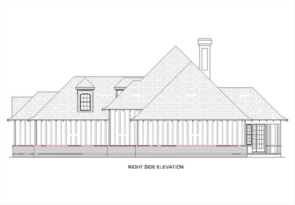 Right Side Elevation by DFD House Plans