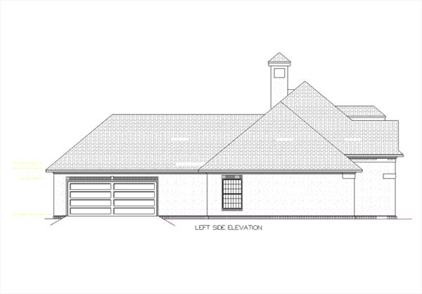Left side elevation image of Tuscany-2314 House Plan