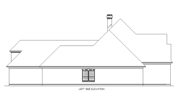 Left Elevation Plan : Colonial house plan with bedrooms and baths
