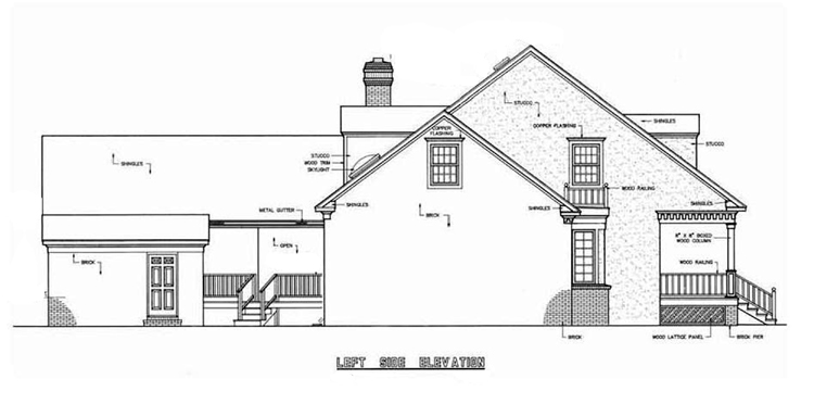 Left side elevation image of Banner Hall-3000 House Plan