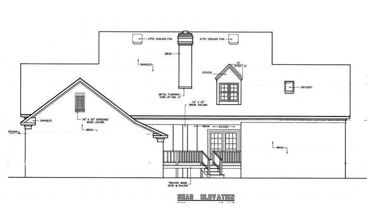 Rear Exterior image of Banner Hall-3000 House Plan