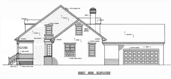 Right Side Elevation image of Banner Hall-3000 House Plan