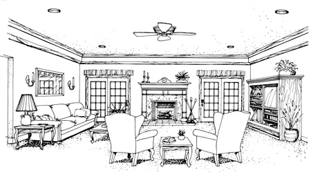 Living Room image of Banner Hall-3000 House Plan