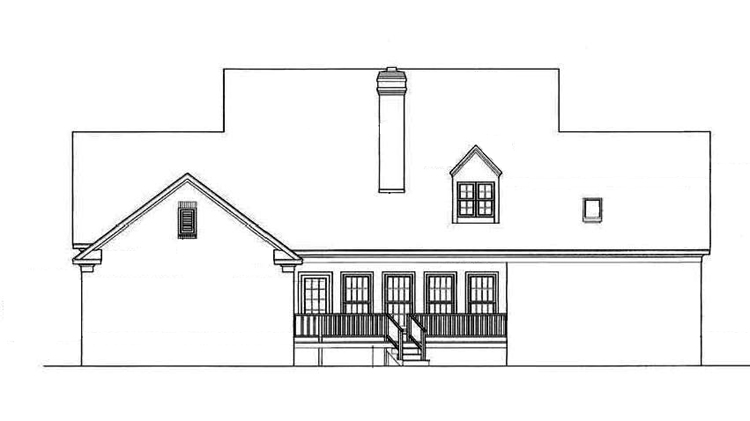 Rear Exterior image of Somerset-3104 House Plan