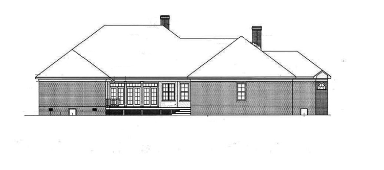 Rear Exterior image of Springhill Plantation-4001 House Plan