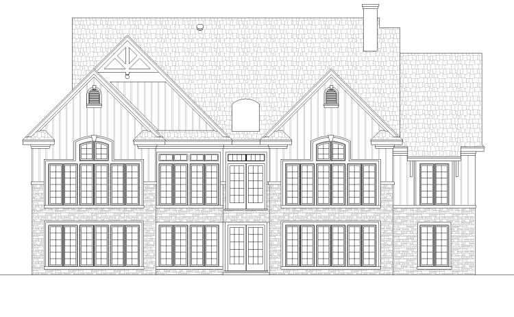 Rear elevation with optional basement fnd by DFD House Plans