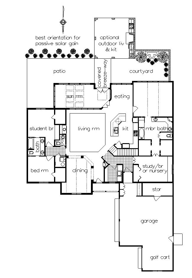 ML floor plan with optional outdoor living by DFD House Plans