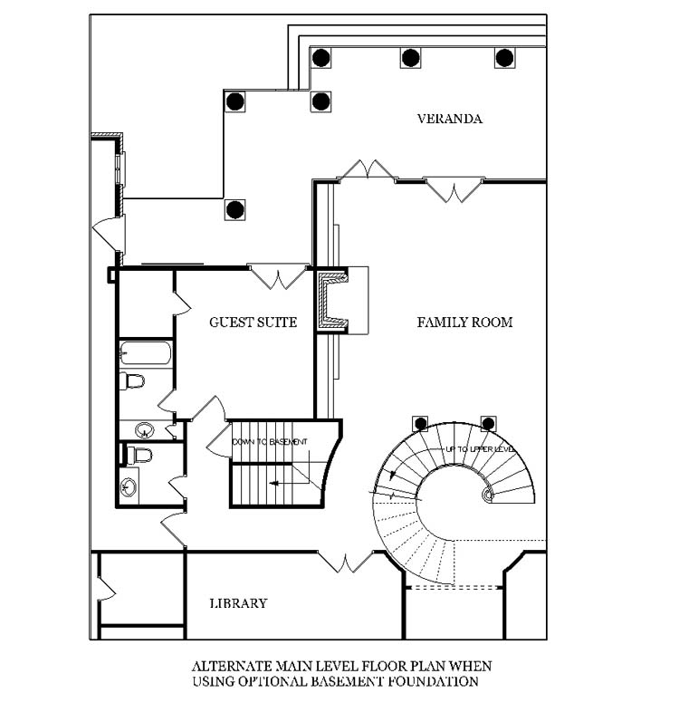 Main Level Stair Location with optional basement by DFD House Plans