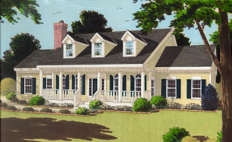 Cape Cod House Plan with 3 Bedrooms and 2.5 Baths - Plan 7645