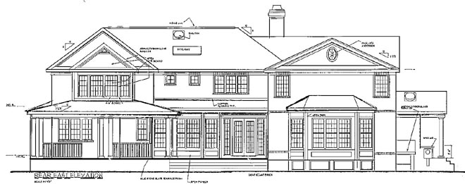 rear image of Grand Colonial House Plan