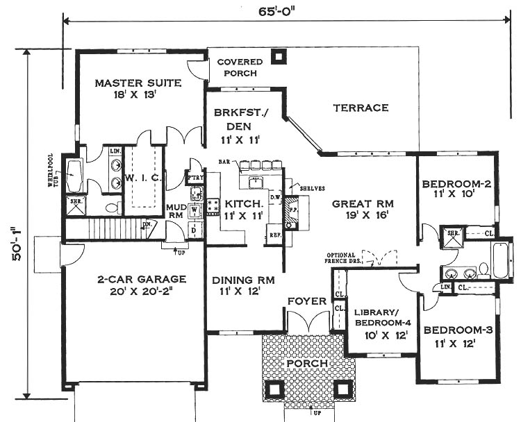 Mediterranean house plan with 4 bedrooms and 2 5 baths for Dfd house plans 1897