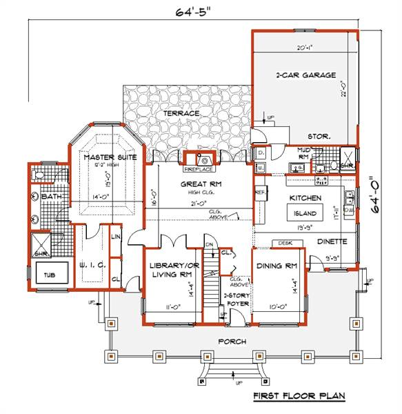 First Floor Plan image of ANGEL House Plan