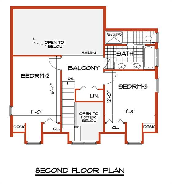 Second Floor Plan image of ANGEL House Plan