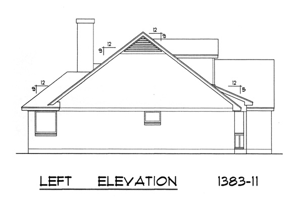 Left Elevation Plan : Traditional house plan with bedrooms and baths