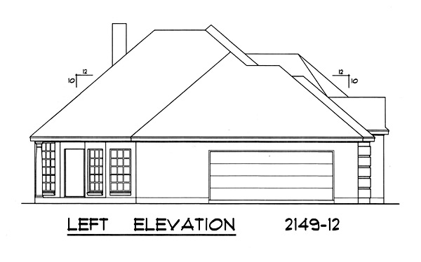 Left Elevation Plan : European house plan with bedrooms and baths