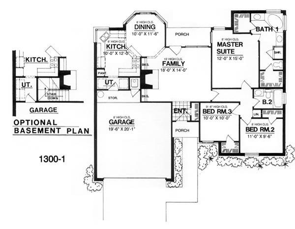 Modern house plan with 3 bedrooms and 2 5 baths plan 7941 for Cost to build 1300 square foot house
