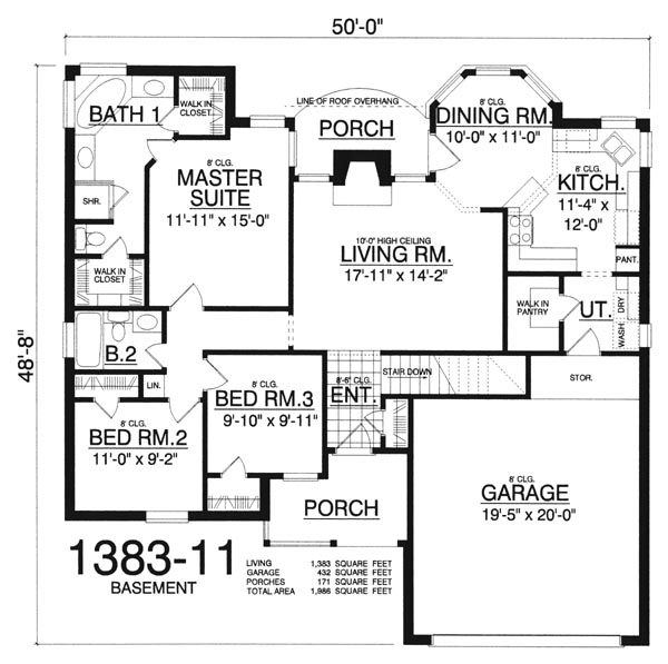 Traditional House Plan With 3 Bedrooms And 2.5 Baths